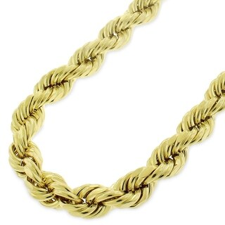 """10k Yellow Gold 8mm Hollow Rope Diamond-Cut Link Twisted Chain Necklace 26"""" - 40"""""""