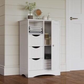 Adeco White Finish Single Door Wall Cabinet 17886369
