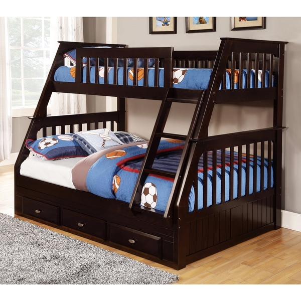 Espresso Pine Wood Twin Over Full Bunk Bed With Drawers