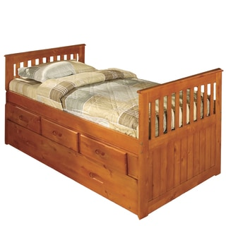 Honey Bookcase 6 Drawer Twin Size Bed 14108784