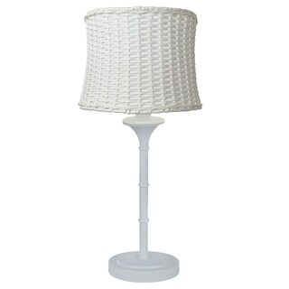 River of Goods White Metal 25.25-inch Outdoor Basketweave Table Lamp