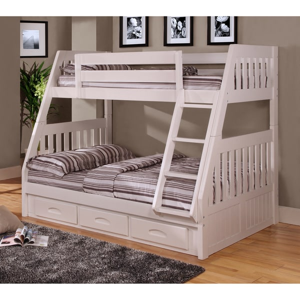 Twin Over Full Bunk Bed With 3 Drawers Underneath And