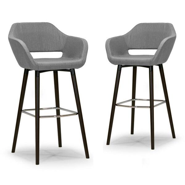 Adel Modern Grey Fabric Bar Stool With Beech Legs Set Of