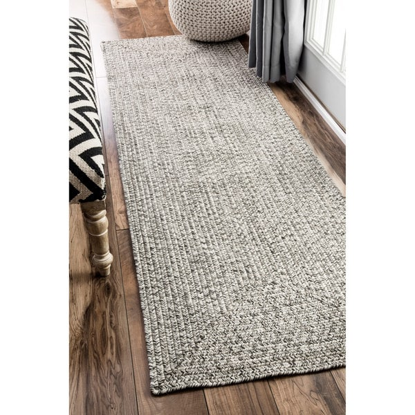 Nuloom Handmade Casual Solid Braided Runner Grey Rug 2 6