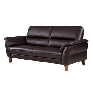 Dallas Sofa Black Leather Real Cowhide Side Panels