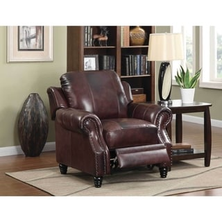 Lazzaro Leather Prato Black And Tan Recliner 18062470