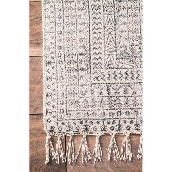 Nuloom Handmade Flatweave Sparkling Cotton Fringe Ivory