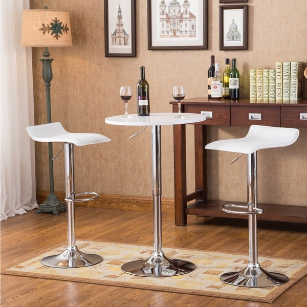White Bar Table And Stools: White Pub Table W Bar Stools Two Adjustable Height Wood