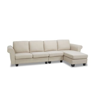 Small Space Linen Fabric Sectional Sofa With Reversible