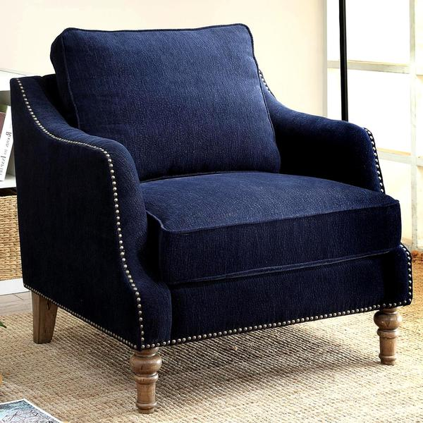 Deep Ink Blue Chenille Fabric Upholstered Living Room