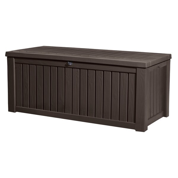 Keter Rockwood Plastic Deck Storage 150-Gallon Brown Patio Bench Box