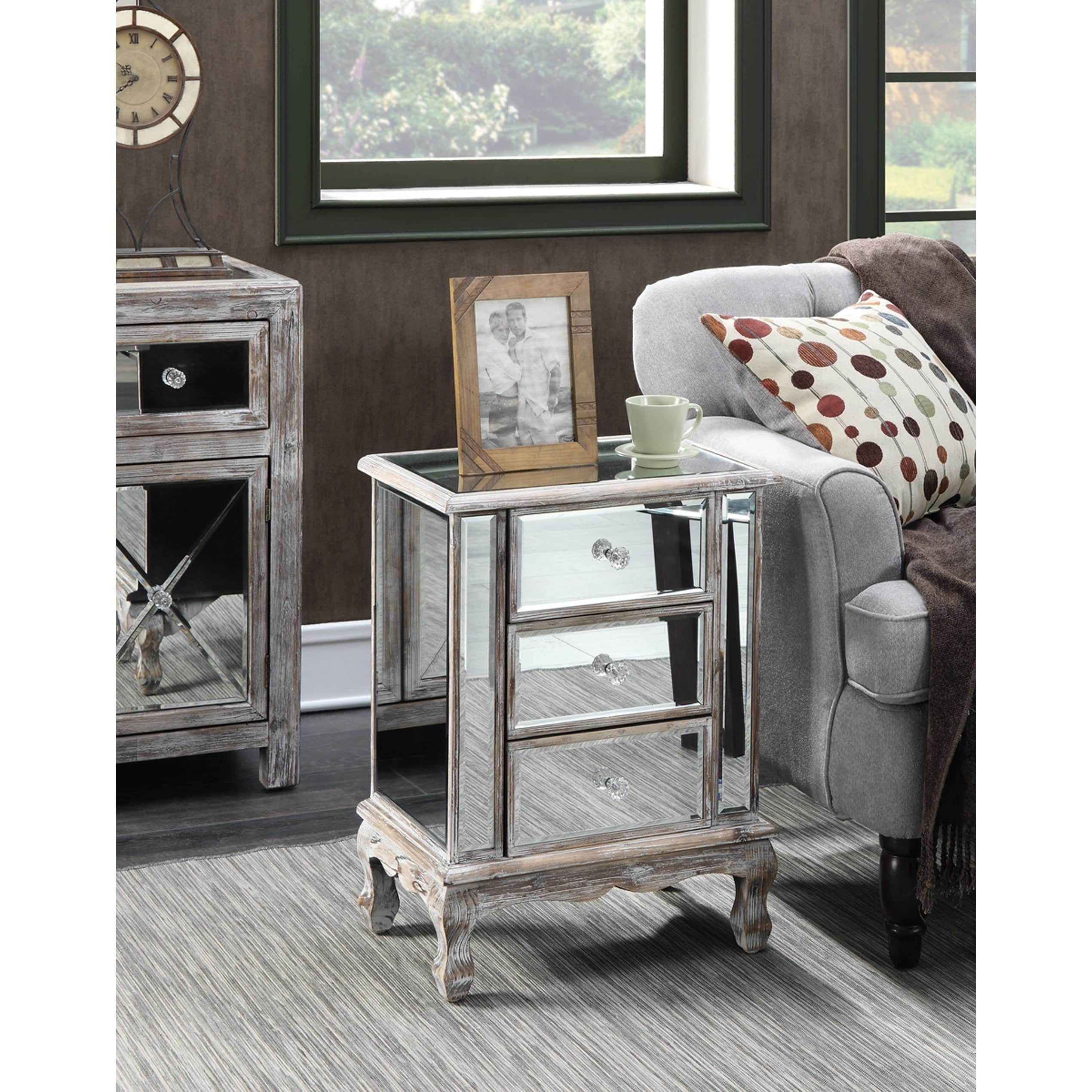 Gold Coast Vineyard 3-Drawer Mirrored End Table