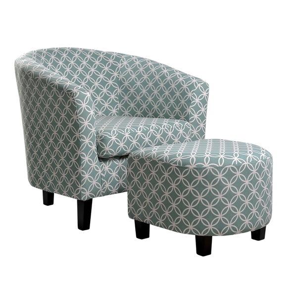 Nathanial Home Light Blue Club Chair And Ottoman