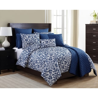 City Scene Branches French Blue 3 Piece Comforter Set