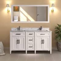 Vanity Art 60-inch Double Sink Bathroom Vanity Set With Carrara Marble Top
