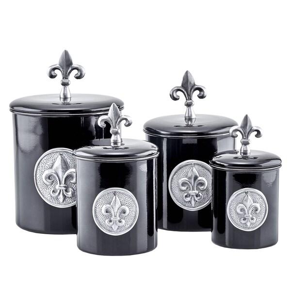 Old Dutch Black Stainless Steel Fleur-de-lis 4 qt., 2 qt., 1 qt., and 1 qt. 4-piece Canister Set