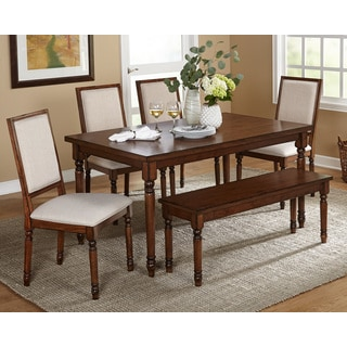 Simple Living 6pc Burntwood Dining Set With Bench