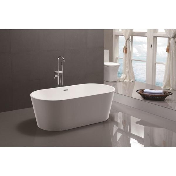 Vanity Art 59-inch Freestanding White Acrylic Soaking Bathtub
