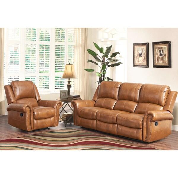 Overstock Living Room Sets: ABBYSON LIVING Skyler Cognac 2-piece Leather Reclining