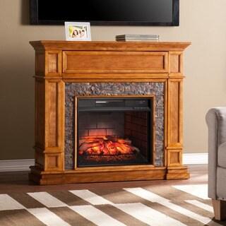 Real Frame Crawford Chestnut Oak Electric Fireplace