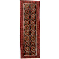 Herat Oriental Afghan Hand-knotted 1960s Semi-antique Tribal Balouchi Wool Runner - 4'2 x 12'4