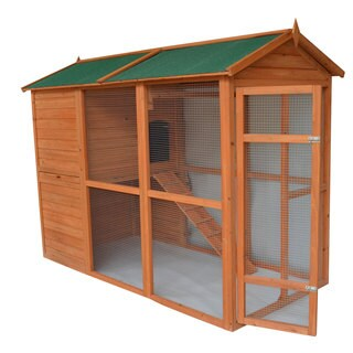 """Pawhut Deluxe Large Backyard Chicken Coop/ Hen House with Outdoor Run - 90""""l x 50""""w x 62""""h/90:l x 50""""w x 62""""h"""