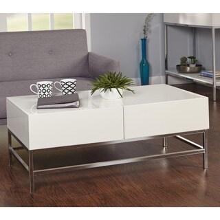 Simple Living White Metal High-gloss Coffee Table