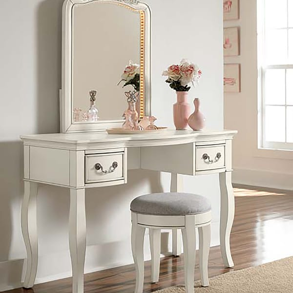 NE Kids Kensington Antique White Writing Desk With Vanity