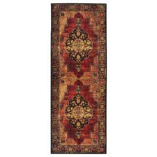 Rubber Back Brown Traditional Floral Non Slip Door Mat Rug