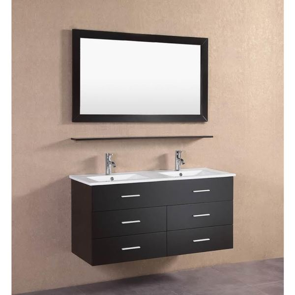Modern Espresso Wall Floating 48-inch Double Sink Bathroom ...
