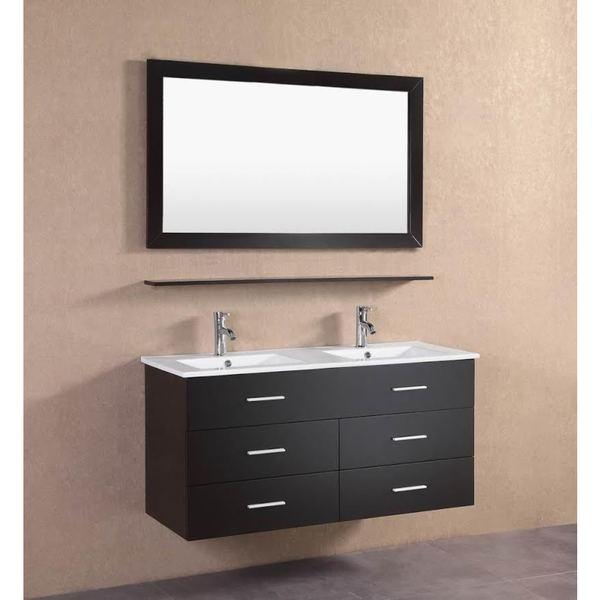 Modern Espresso Wall Floating 48-inch Double Sink Bathroom ...
