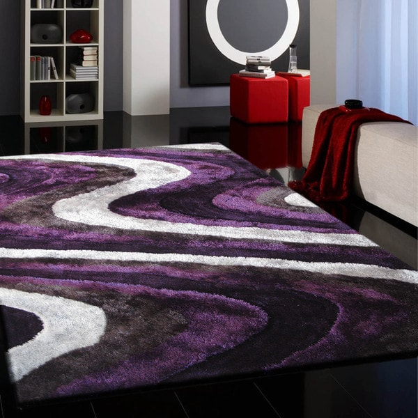Overstock Shag Rug Vibrant Spike Purple/Silver/Gray/Black Hand-tufted Shag ...