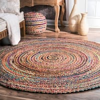 nuLOOM Casual Handmade Braided Cotton Jute Multi Round Rug - 6' x 6' Round