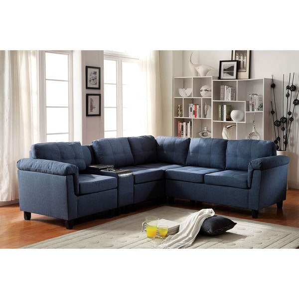 Cleavon Sectional Sofa With Console Linen 19437413