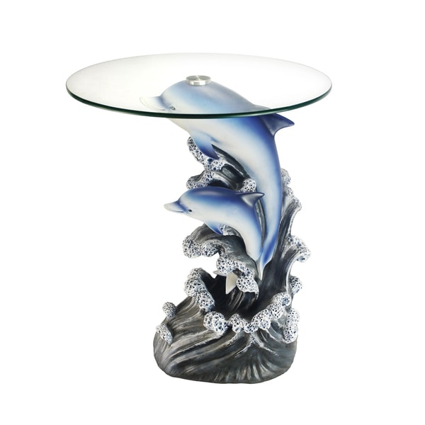 Glass Top 24 Inch Dolphin End Table 19439737 Overstock