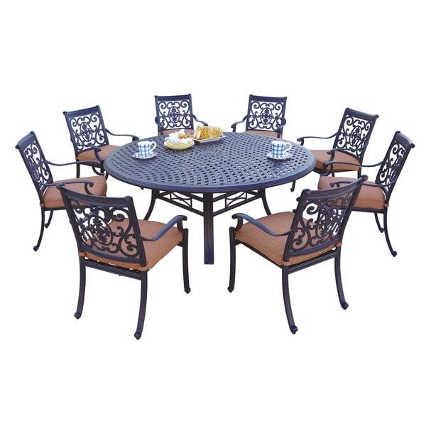darlee st cruz antique bronze cast aluminum round 9 piece dining set 19439929. Black Bedroom Furniture Sets. Home Design Ideas