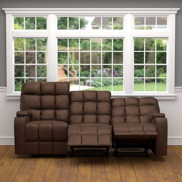 Prolounger Brown Microfiber Wall Hugger Storage 3 Seat