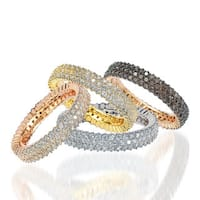 Suzy Levian Sterling Silver Micro-Pave Cubic Zirconia Eternity Band