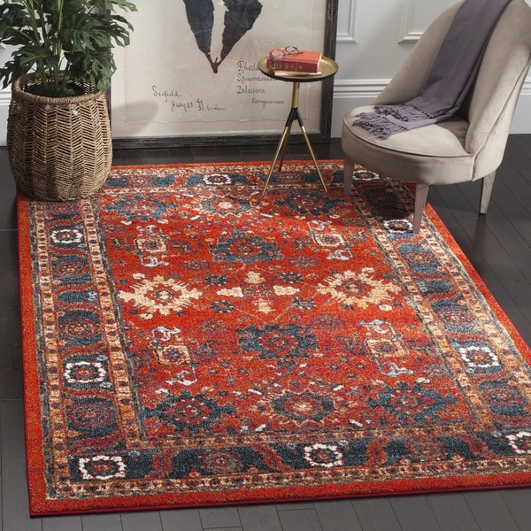 5x8 Hamadan Authentic Rugs Deals Direct Handmade Persian: Safavieh Vintage Hamadan Orange / Blue Rug (5' X 8