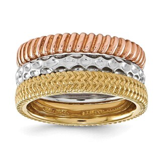 Versil Sterling Silver 3-piece Stackable Ring Set
