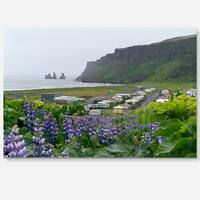 Icelandic Town Vik - Landscape Photography Glossy Metal Wall Art