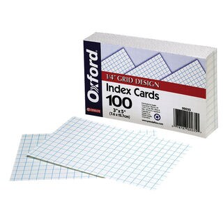 "Oxford 2035 100 Count 3"" x 5"" White Grid Ruled Index Cards"