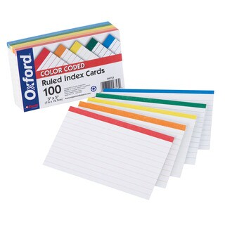 "Oxford 4753 100 Count 3"" x 5"" Color Coded Ruled Index Cards"