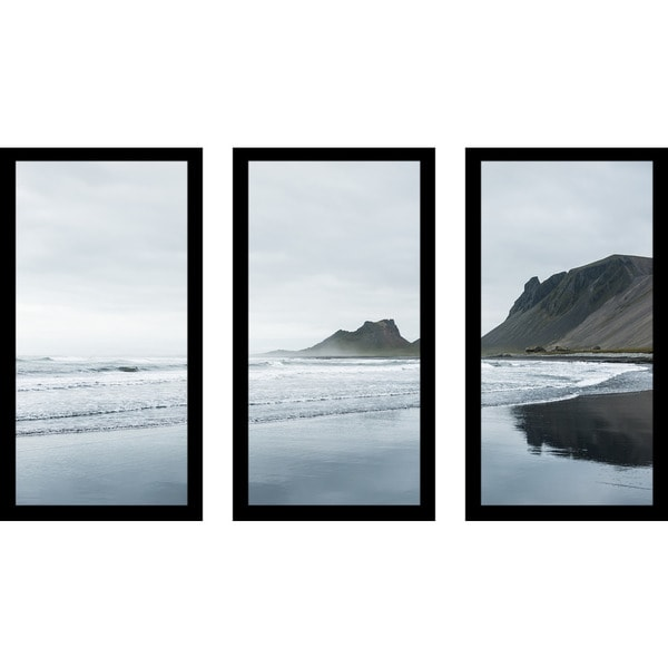 """South Of Iceland"" Framed Plexiglass Wall Art Set of 3"