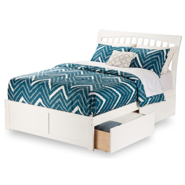 Orleans White Full Flat Panel Foot Board With 2 Urban Bed Drawers