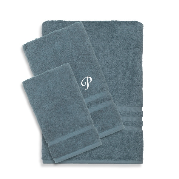 Authentic Hotel And Spa Omni Turkish Cotton Terry 3piece Medium Blue Bath Towel Set With White Script Monogrammed Initial image