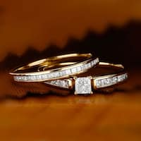 De Couer 14K Yellow Gold 1ct TDW Princess-Cut Diamond Engagement Ring Set