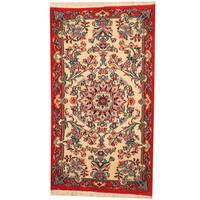 Herat Oriental Persian Hand-knotted Qum Wool Rug - 2'4 x 4'3