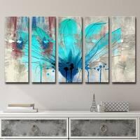 Ready2HangArt 5-Piece 'Painted Petals LII' Canvas Art Set - Blue