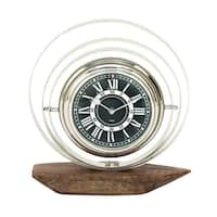 Clay Alder Home Waccamaw Chic Stainless Steel Wood Table Clock